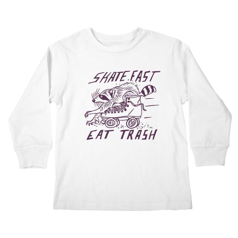 SKATE FAST EAT TRASH Kids Longsleeve T-Shirt by Bull City Roller Derby Shop