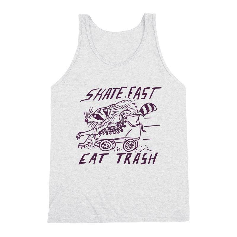 SKATE FAST EAT TRASH Men's Triblend Tank by Bull City Roller Derby Shop