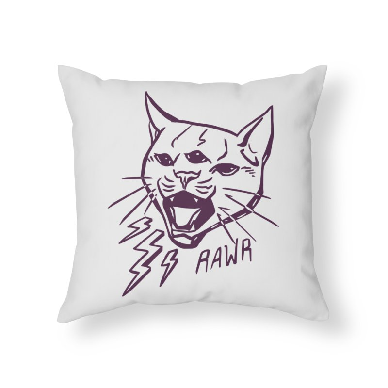 THUNDERCAT HOOOO! Home Throw Pillow by Bull City Roller Derby Shop