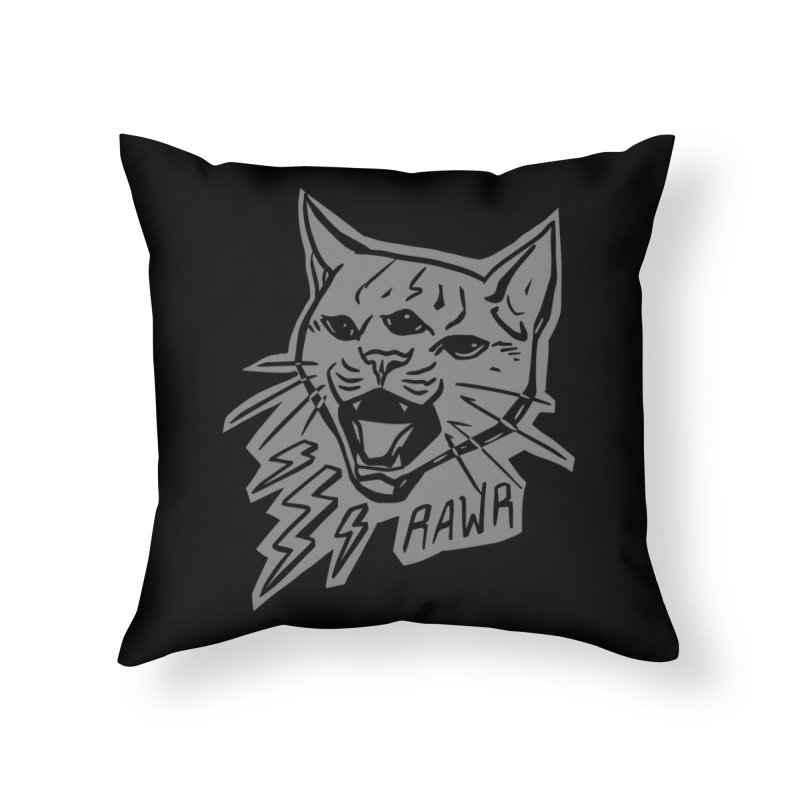 THUNDERCAT HOOOO! Reverse Home Throw Pillow by Bull City Roller Derby Shop