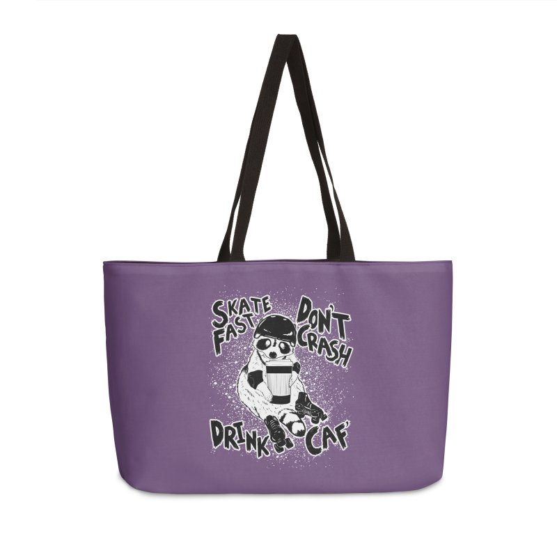 Skate Fast | Don't Crash |  Drink Caf! Accessories Weekender Bag Bag by Bull City Roller Derby Shop