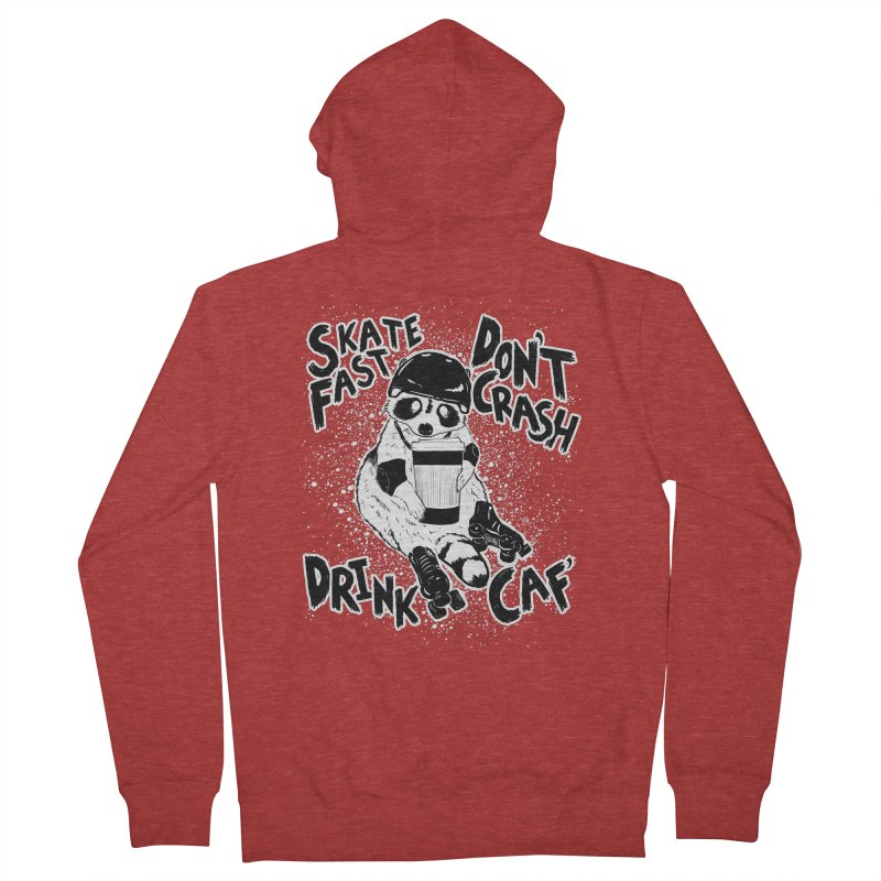 Skate Fast | Don't Crash |  Drink Caf! Men's French Terry Zip-Up Hoody by Bull City Roller Derby Shop