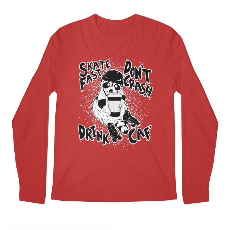 Skate Fast | Don't Crash |  Drink Caf! Men's Regular Longsleeve T-Shirt by Bull City Roller Derby Shop