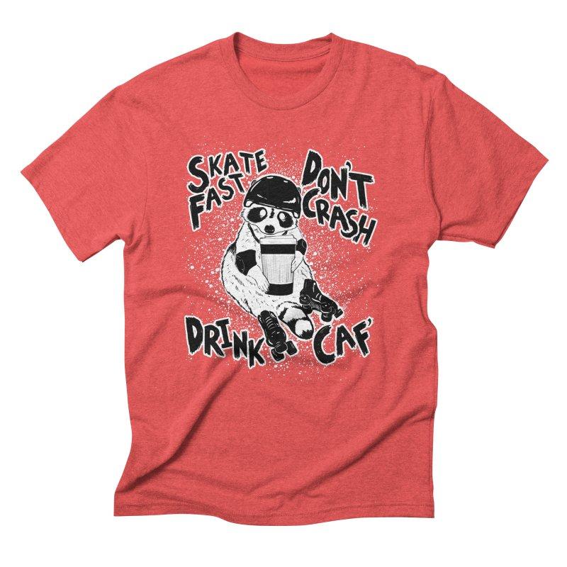 Skate Fast   Don't Crash    Drink Caf! Men's Triblend T-Shirt by Bull City Roller Derby Shop
