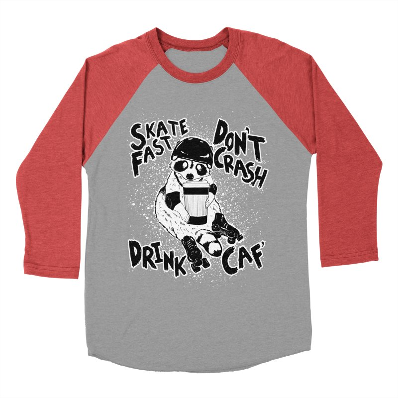 Skate Fast | Don't Crash |  Drink Caf! Women's Baseball Triblend Longsleeve T-Shirt by Bull City Roller Derby Shop