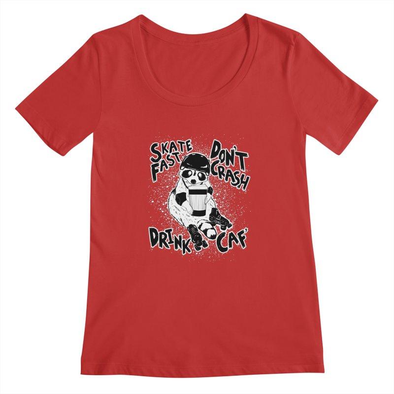 Skate Fast | Don't Crash |  Drink Caf! Women's Regular Scoop Neck by Bull City Roller Derby Shop