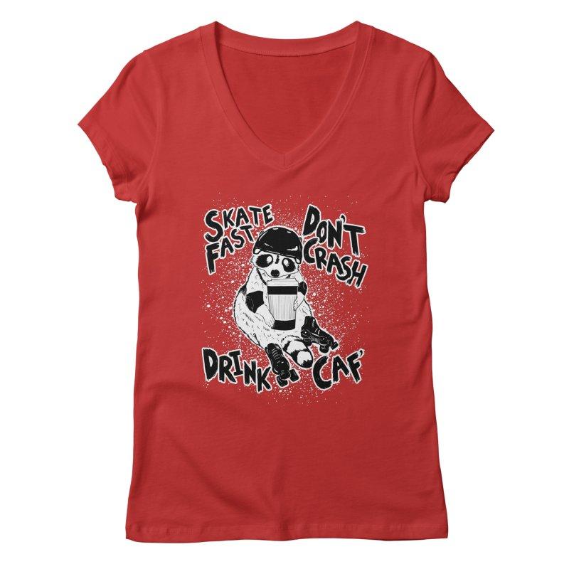Skate Fast | Don't Crash |  Drink Caf! Women's Regular V-Neck by Bull City Roller Derby Shop
