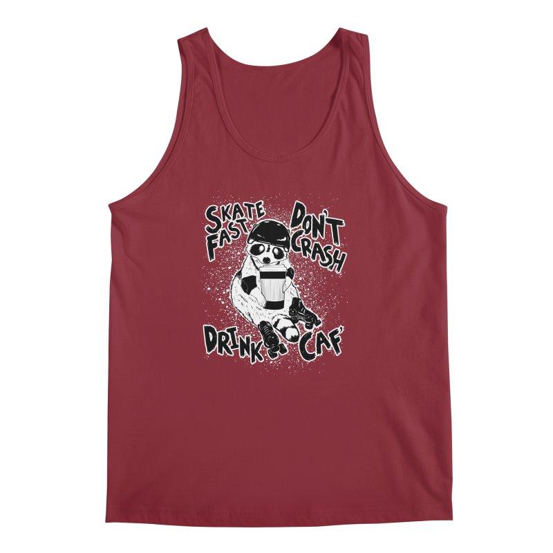 Skate Fast | Don't Crash |  Drink Caf! Men's Regular Tank by Bull City Roller Derby Shop
