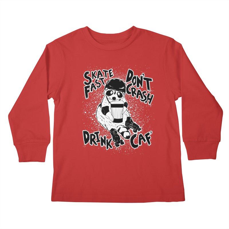 Skate Fast | Don't Crash |  Drink Caf! Kids Longsleeve T-Shirt by Bull City Roller Derby Shop