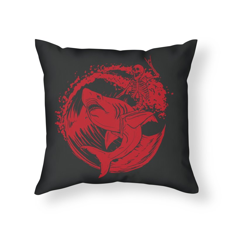 SURF'S UP Home Throw Pillow by Bull City Roller Derby Shop
