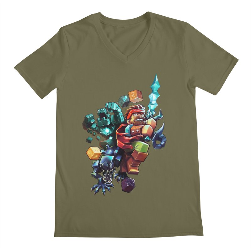 BDcraft Hero, Golem and Alien Men's Regular V-Neck by BDcraft Shop
