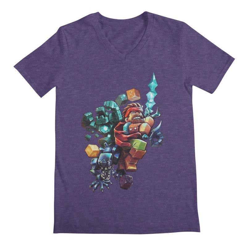 BDcraft Hero, Golem and Alien Men's Regular V-Neck by BDcraft Shop