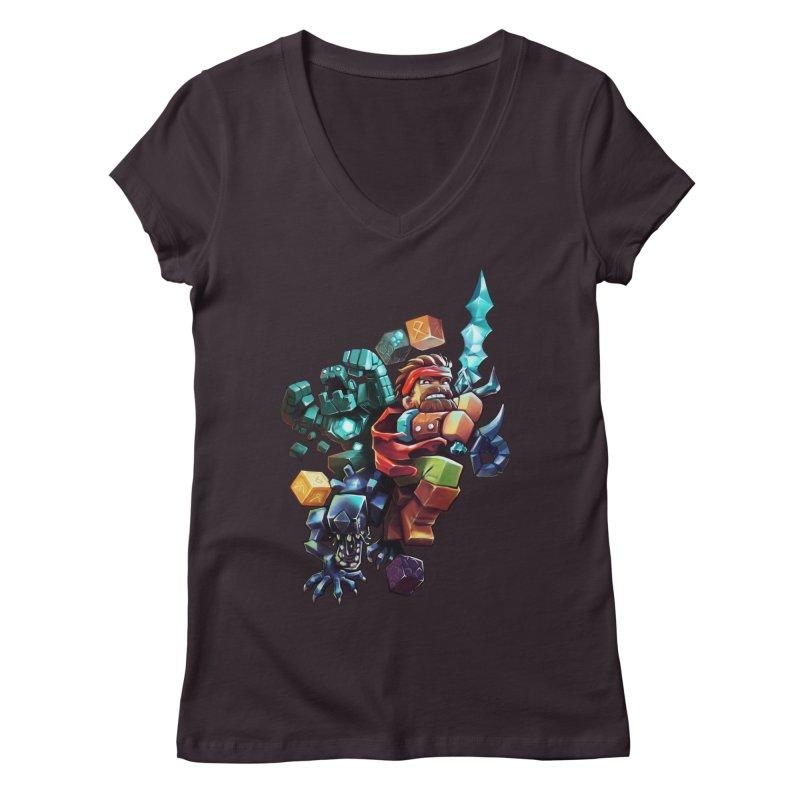 BDcraft Hero, Golem and Alien Women's Regular V-Neck by BDcraft Shop