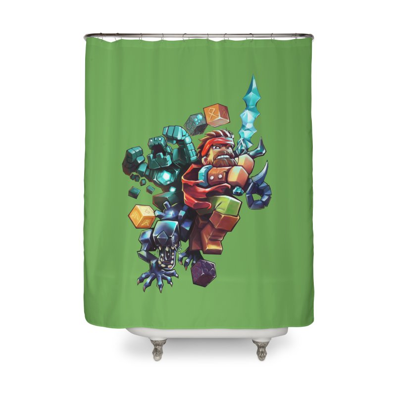 BDcraft Hero, Golem and Alien Home Shower Curtain by BDcraft Shop
