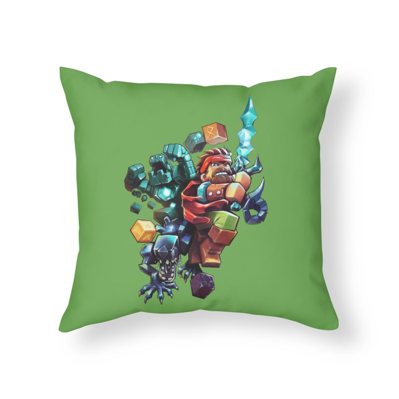 BDcraft Hero, Golem and Alien Home Throw Pillow by BDcraft Shop