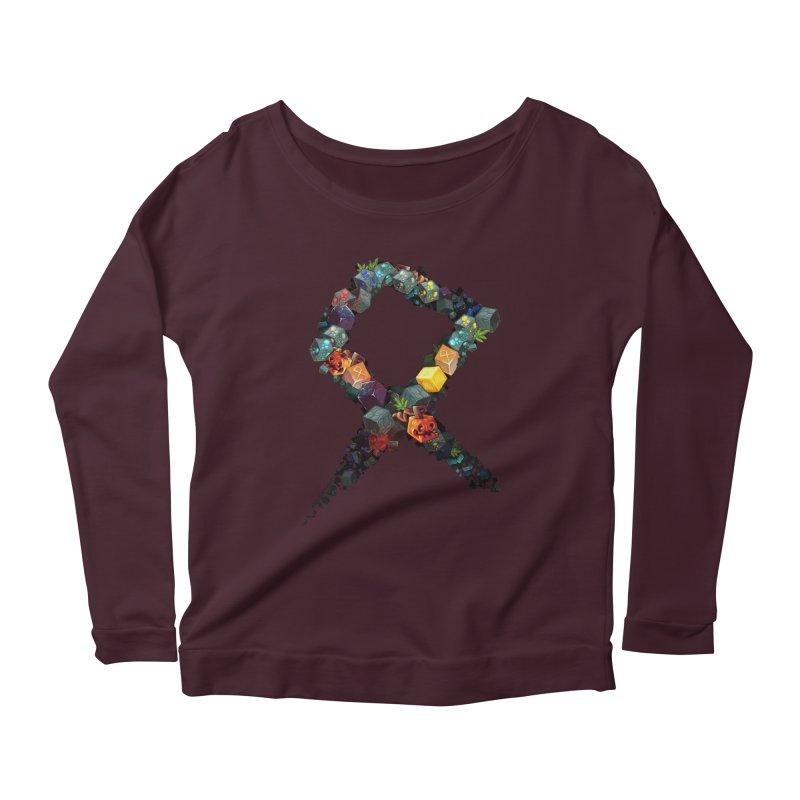 BDcraft Rune of blocks Women's Scoop Neck Longsleeve T-Shirt by BDcraft Shop