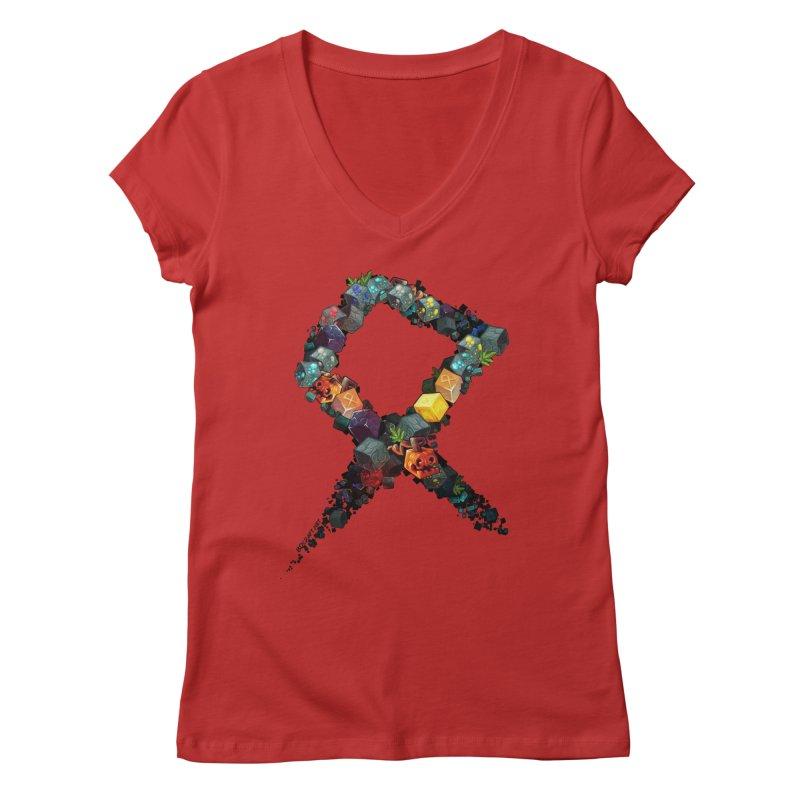 BDcraft Rune of blocks Women's Regular V-Neck by BDcraft Shop