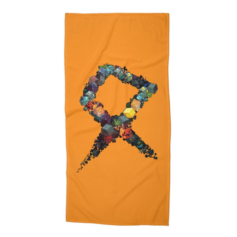 BDcraft Rune of blocks Accessories Beach Towel by BDcraft Shop