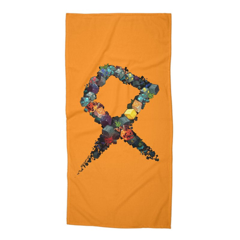 BDcraft Rune of blocks Accessories Beach Towel by BDcraft Shop