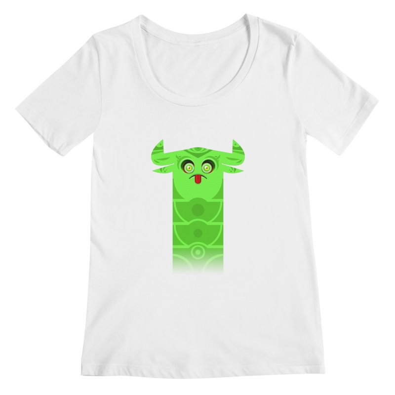 Mr. Yuchyux (green frowning) Women's Scoopneck by BEeow's Artist Shop