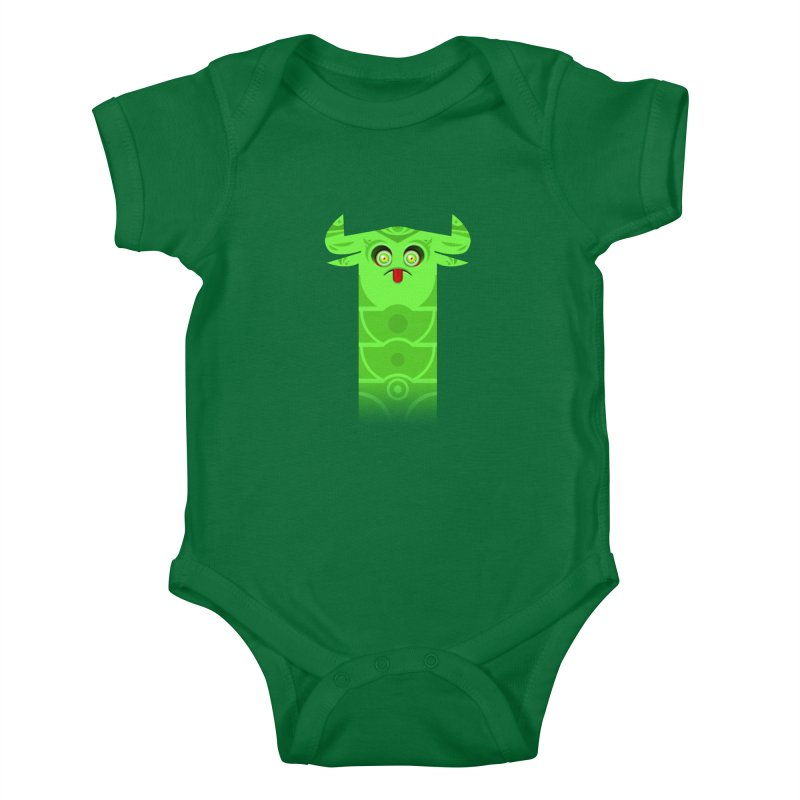 Mr. Yuchyux (green frowning) Kids Baby Bodysuit by BEeow's Artist Shop