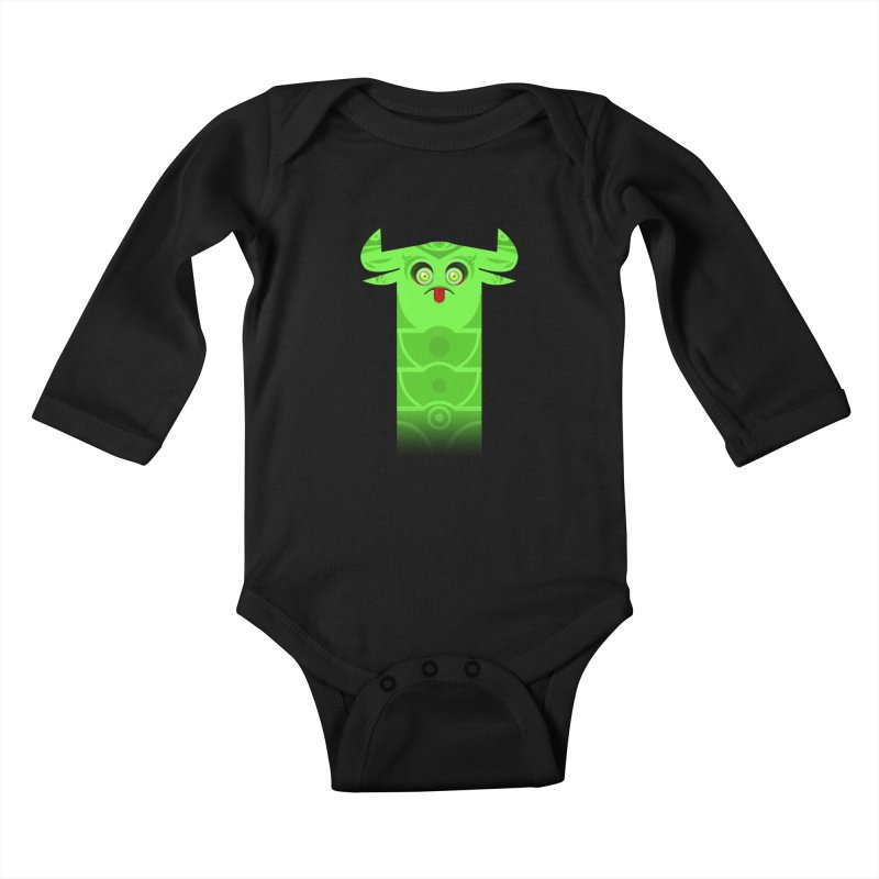 Mr. Yuchyux (green frowning) Kids Baby Longsleeve Bodysuit by BEeow's Artist Shop