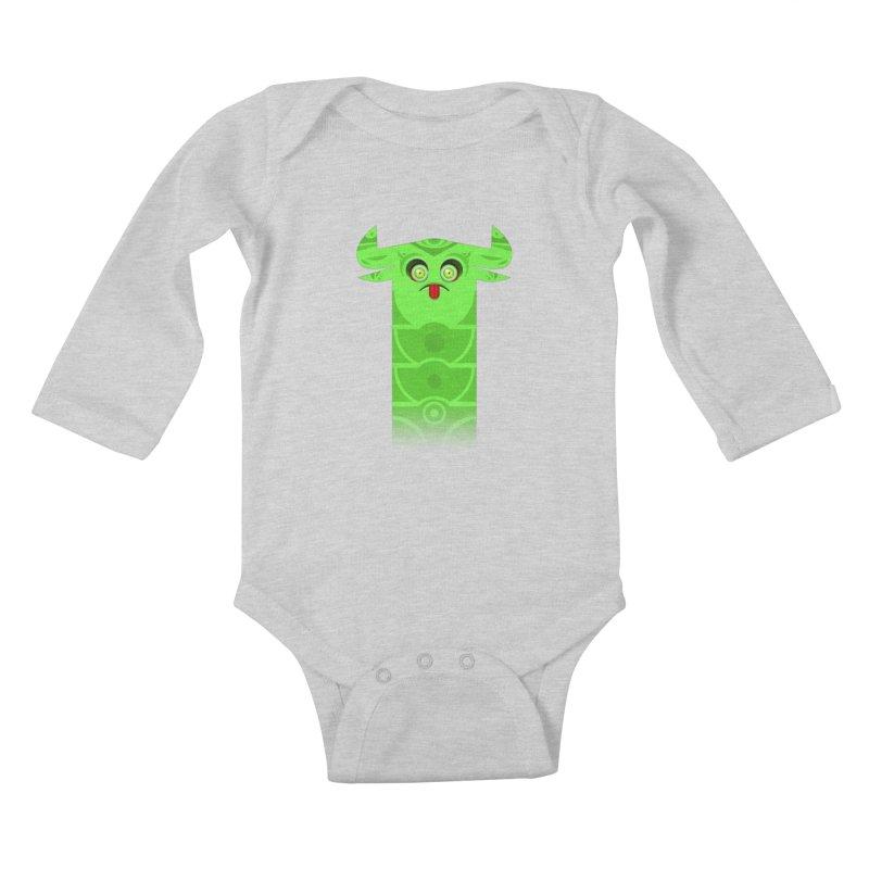 Mr. Yuchyux (green frowning) Kids Baby Longsleeve Bodysuit by BEeow's Artist Shop