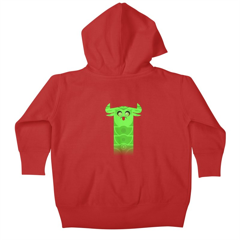Mr. Yuchyux (green frowning) Kids Baby Zip-Up Hoody by BEeow's Artist Shop
