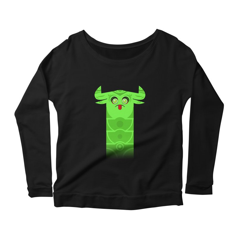 Mr. Yuchyux (green frowning) Women's Scoop Neck Longsleeve T-Shirt by BEeow's Artist Shop