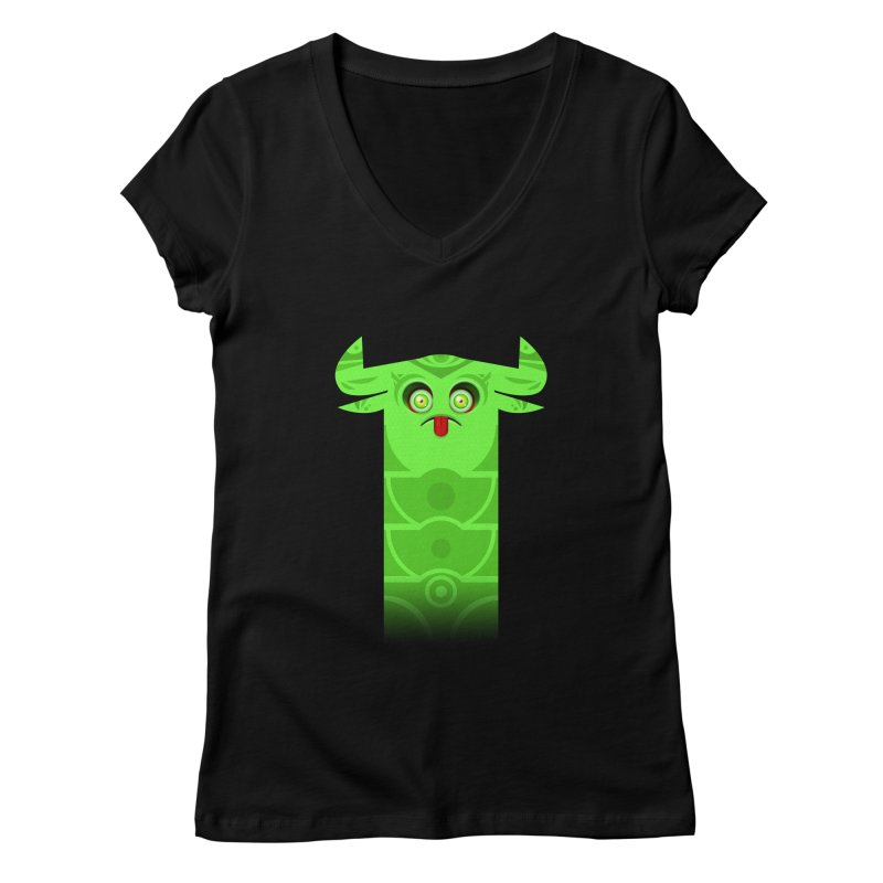 Mr. Yuchyux (green frowning) Women's V-Neck by BEeow's Artist Shop