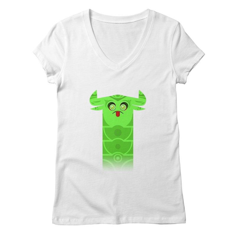 Mr. Yuchyux (green frowning) Women's Regular V-Neck by BEeow's Artist Shop