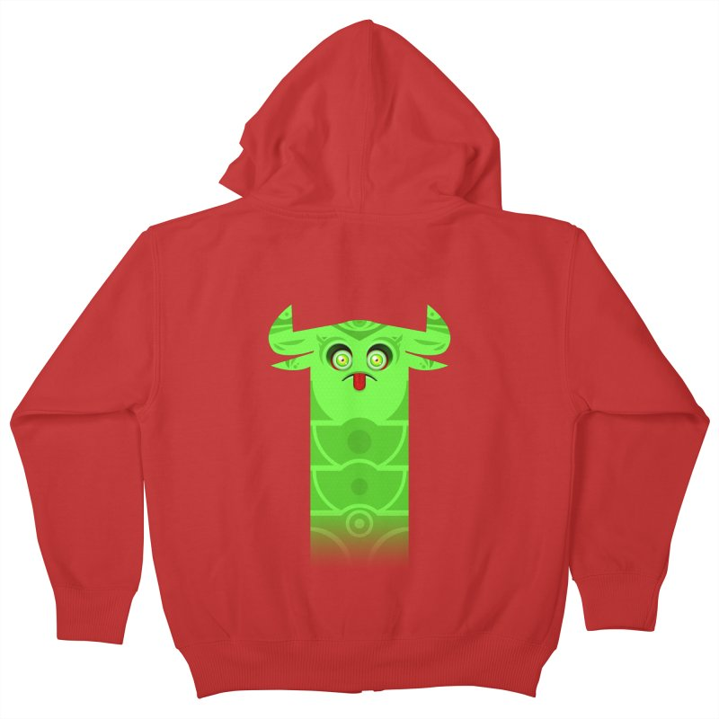 Mr. Yuchyux (green frowning) Kids Zip-Up Hoody by BEeow's Artist Shop