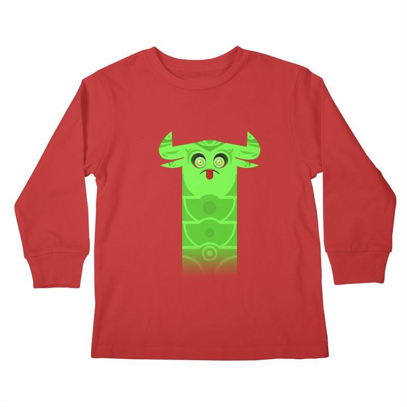 Mr. Yuchyux (green frowning) Kids Longsleeve T-Shirt by BEeow's Artist Shop