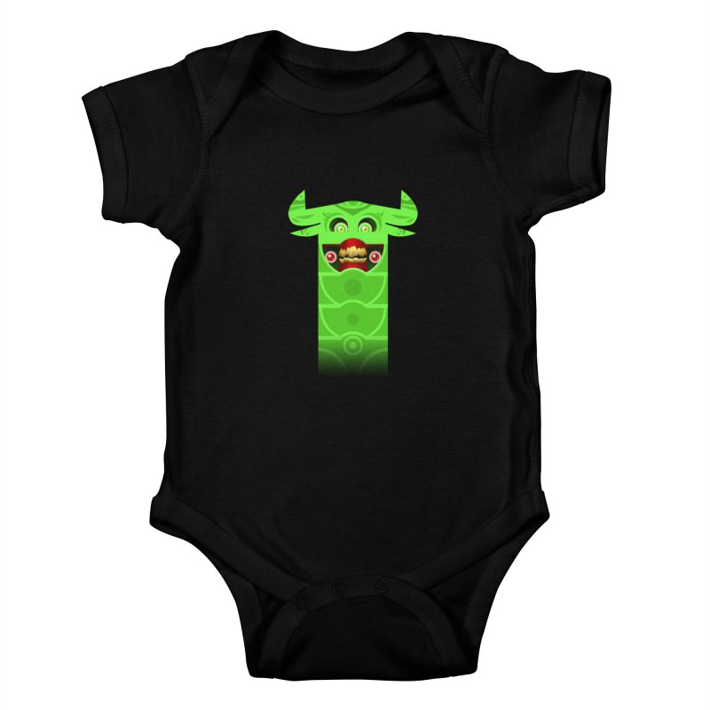 Mr. Yuchyux (green smiling) Kids Baby Bodysuit by BEeow's Artist Shop