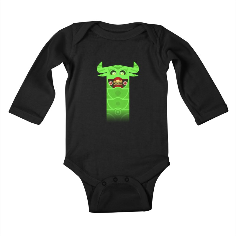 Mr. Yuchyux (green smiling) Kids Baby Longsleeve Bodysuit by BEeow's Artist Shop