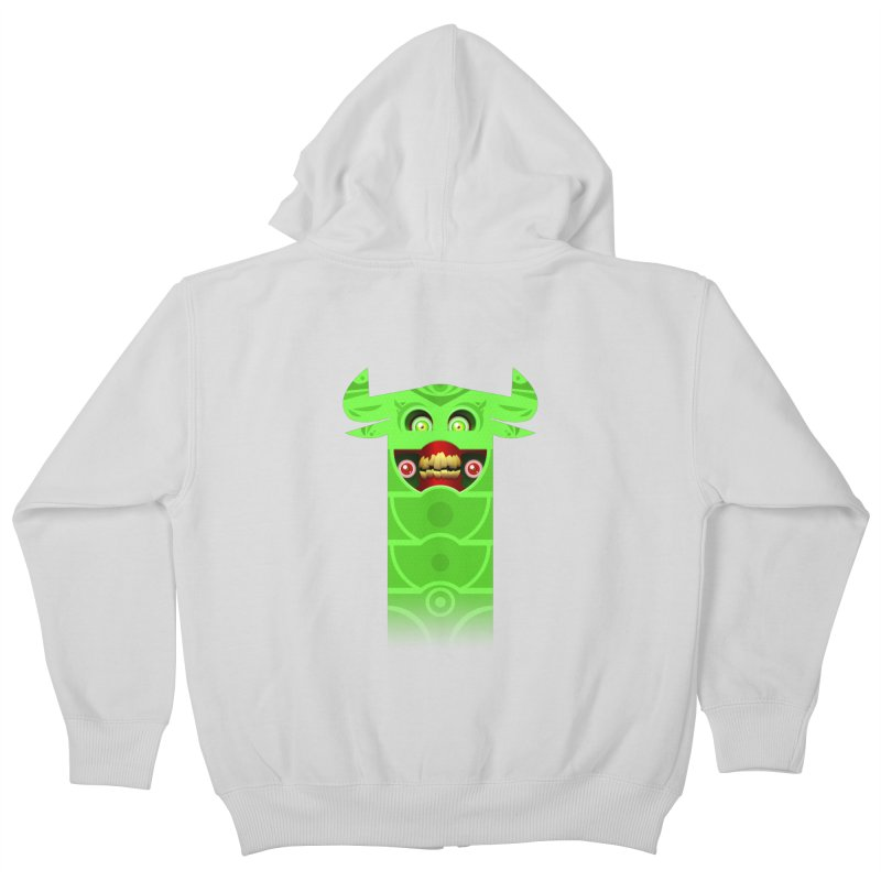 Mr. Yuchyux (green smiling) Kids Zip-Up Hoody by BEeow's Artist Shop