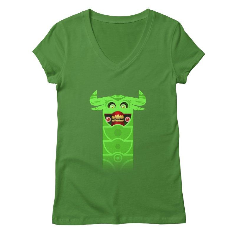 Mr. Yuchyux (green smiling) Women's V-Neck by BEeow's Artist Shop