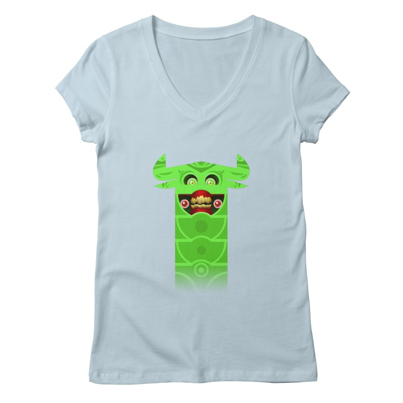Mr. Yuchyux (green smiling) Women's V-Neck by BEeow's Artist Shop