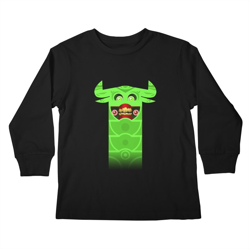 Mr. Yuchyux (green smiling) Kids Longsleeve T-Shirt by BEeow's Artist Shop