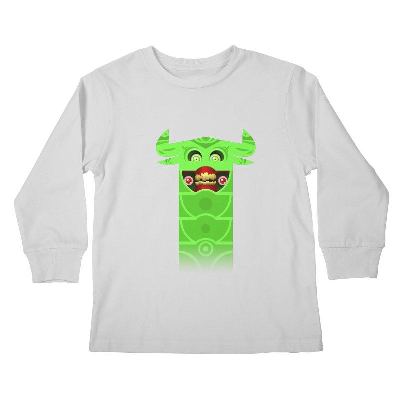 Mr. Yuchyux (green smiling) Kids Longsleeve T-Shirt by BEeow's Artist Shop
