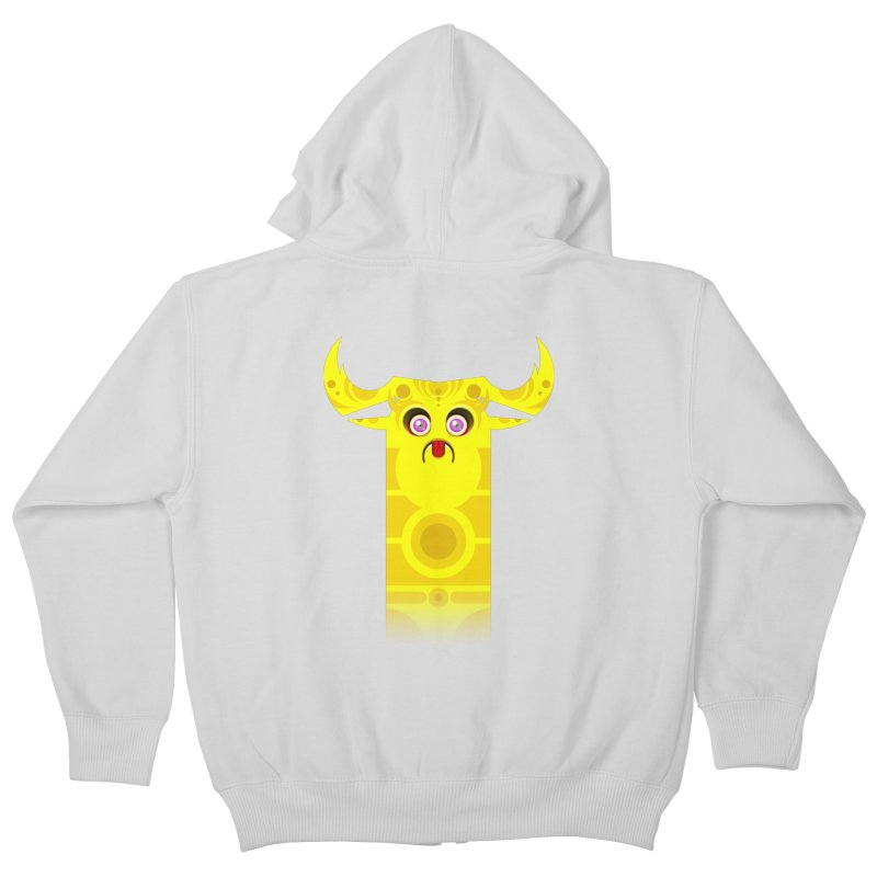 Mr. Yuchyux (yellow frowning) Kids Zip-Up Hoody by BEeow's Artist Shop