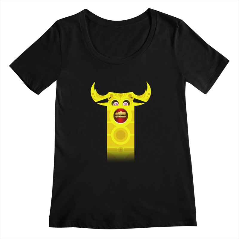 Mr. Yuchyux (yellow smiling) Women's Scoopneck by BEeow's Artist Shop