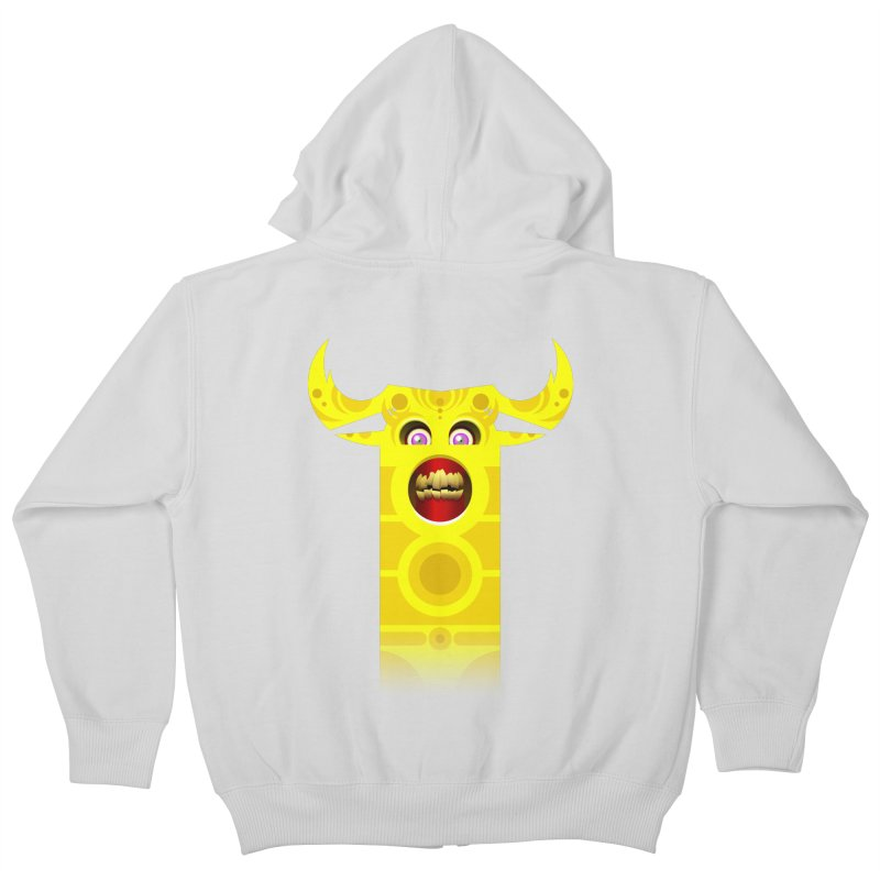 Mr. Yuchyux (yellow smiling) Kids Zip-Up Hoody by BEeow's Artist Shop