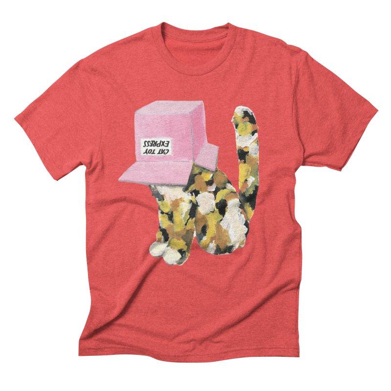 Cat in box Men's Triblend T-shirt by BJcaptain's Artist Shop