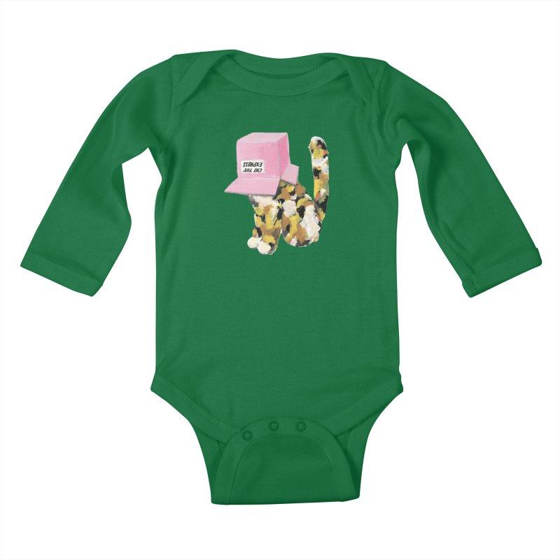 Cat in box Kids Baby Longsleeve Bodysuit by BJcaptain's Artist Shop