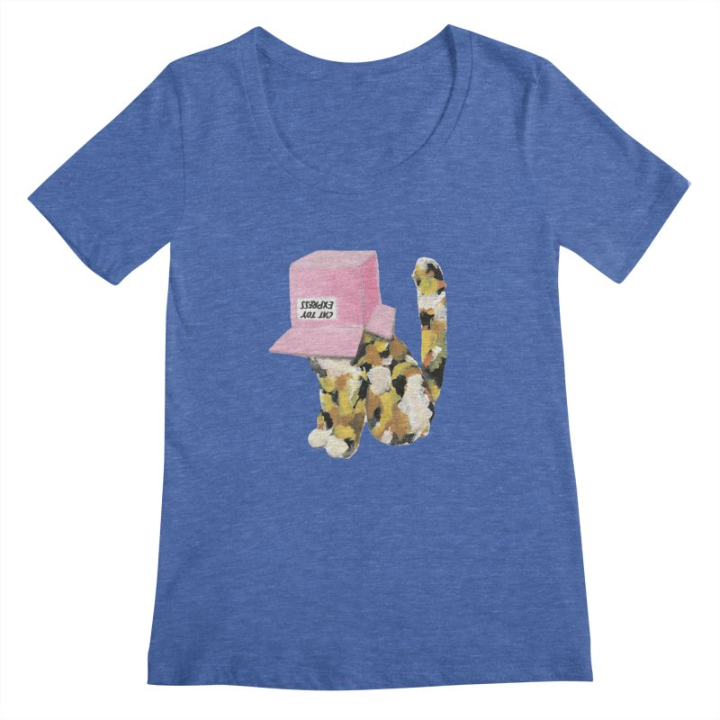 Cat in box Women's Scoopneck by BJcaptain's Artist Shop