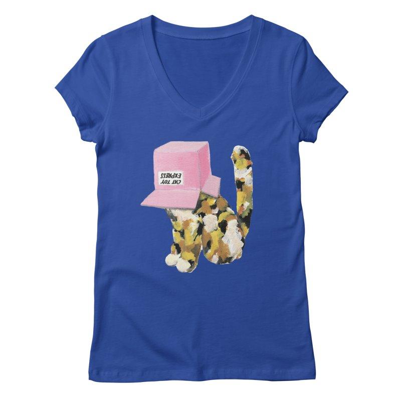 Cat in box Women's V-Neck by BJcaptain's Artist Shop