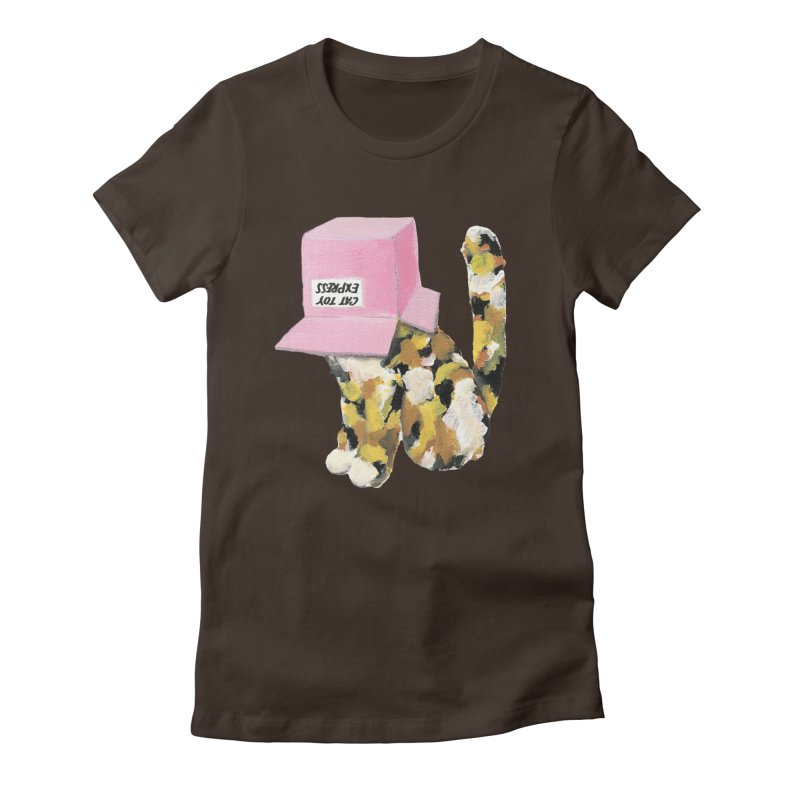 Cat in box Women's Fitted T-Shirt by BJcaptain's Artist Shop