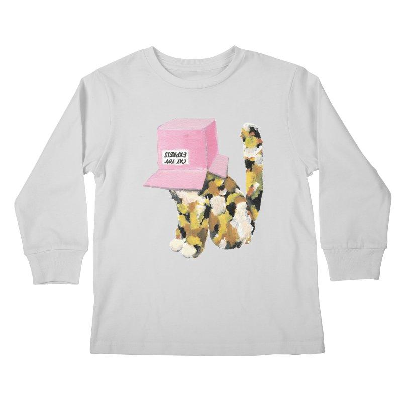Cat in box Kids Longsleeve T-Shirt by BJcaptain's Artist Shop