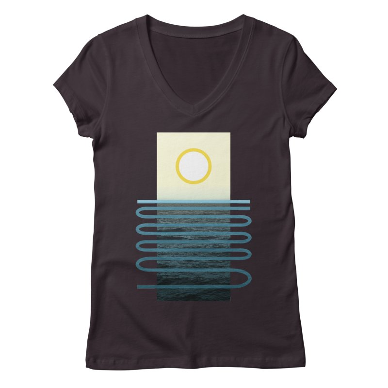 Sunrise At Sea Women's V-Neck by Sam Arias